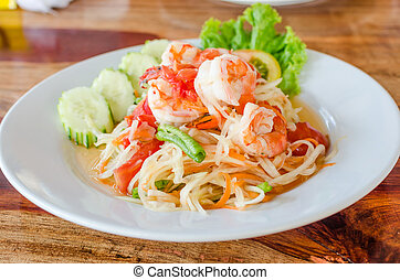 Green papaya salad Som Tum with shrimp