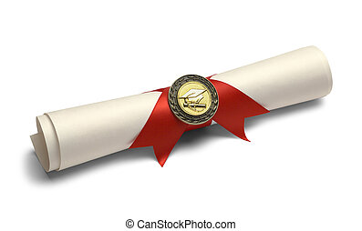 Degree with Diploma Medal. - Degree Scroll with Red Ribbon...