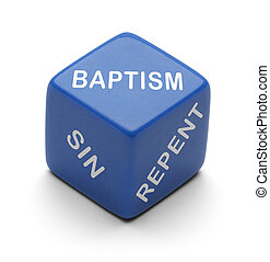 Dice Repent - Blue Dice with Repent Sin and Obey on it...