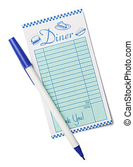 Diner Receipt - Restaurant Receipt Bill and Pen Isolated on...