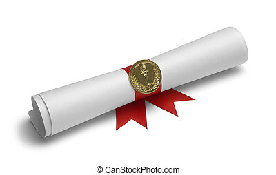 Diploma Torch Scroll - Diploma with Torch Medal and Red...