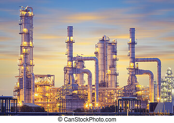Oil plant - Oil refinery factory at twilight, blue color...
