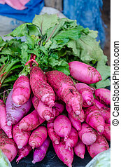 Purple carrots piled on the table in local market