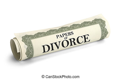Divorce Papers - Legal Divorce Documents Rolled Up Isolated...