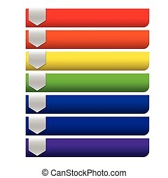 Blank Infographics colorful rainbow paper stripe banners on white background