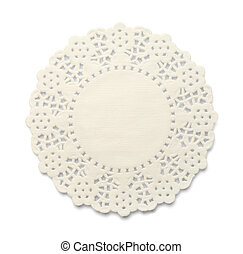 Doily - White Paper Doily With Lace Pattern Isolated on...