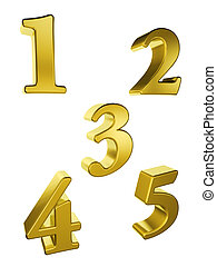 gold number 1 to 5 - Gold number 1 to 5 on a white...
