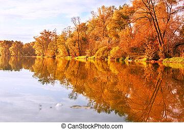 Autumn landscape - Picturesque autumn landscape on the river...