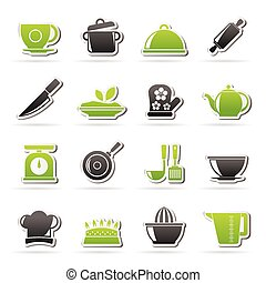 Restaurant and kitchen items icons - vector icon set,...