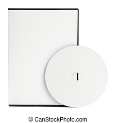 DVD and Case - Blank White DVD Case with Blank Disc Isolated...