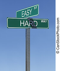 Easy Hard Sign - Two Green Street Signs Easy Street and Hard...