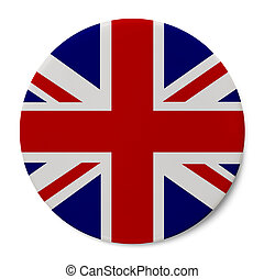 England Flag Badge - Round Pin With English Flag Isolated on...