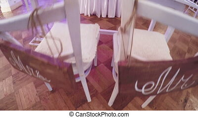 Table bride and groom - Table decorated with flowers bride...