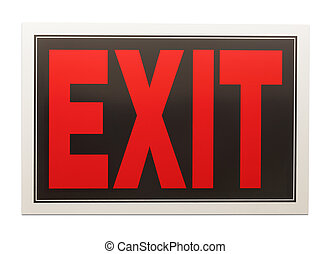 Exit Sign - Red and Black Exit Sign Isolated on a White...