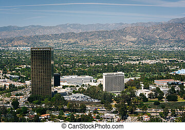 View of distant mountains and Universal City from the...