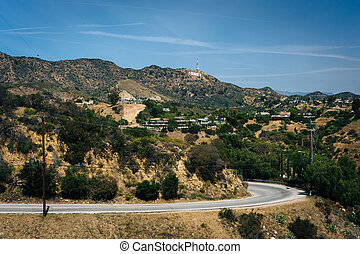 View of Mulholland Drive and the Hollywood Hills, in Los...