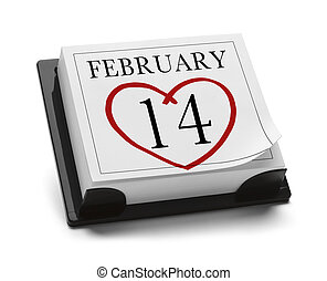 February 14th - Valentines Day Calendar Feb 14th Isolated on...