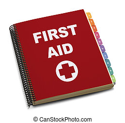 First Aid Book - Red Spiral Bound First Aid Handbook...