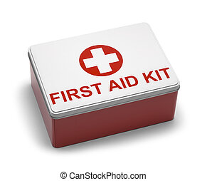 First Aid Kit Metal - Red and White Metal First Aid Kit Box....