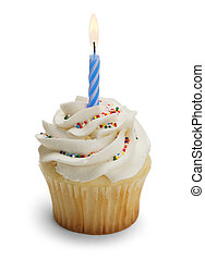 First Birthday - Cupcake with Blue Candle Isolated on White...