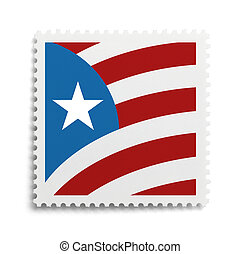 Flag Stamp - USA Flag Postage Stamp Isolated on White...