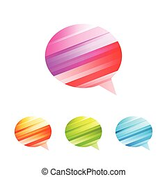 Colored conversation icon set - Colored conversation on the...