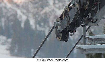 Ski lift in the work with mountain views - Part of the ski...
