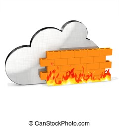 3d metallic cloud with firewall  on white background