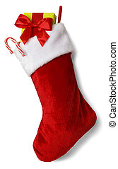 Full Stocking - Christmas Stocking with Presents Isolated on...