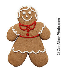 Gingerbread Girl - Gingerbread Cookie Isolated on a White...
