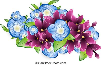Lilac and Forget-me-not Flower - Illustration of Spring Wet...