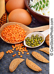 Protein food : eggs, almonds, lentils, cheese, walnut, and...
