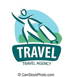 vector logo tourist traveling with a suitcase