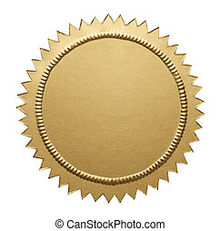 Gold Metallic Seal - Empty Notary Seal with Copy Space...