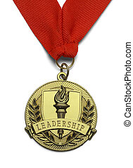 Gold Leadeship Medal - Gold Medal with Torch and Leadership...