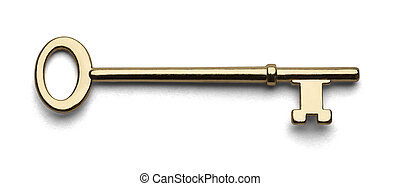 Skeleton Key - Gold House Key Isolated in White Background.