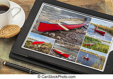paddling red canoe collage