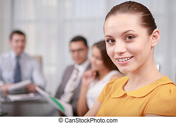 Business woman at the meeting - Effective business...