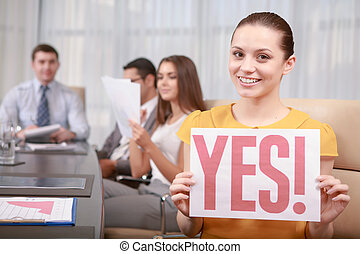 Business woman at the meeting - Positive decision. Cheerful...