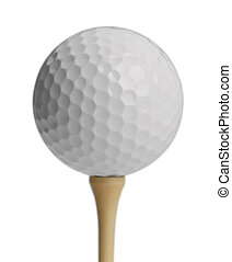 Golf Ball Tee - White Golf Ball On Tee Isolated on White...