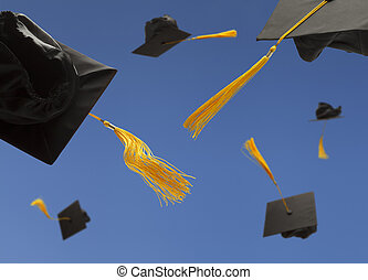 Graduation Hats - Black Graduation Hat Toss into the Air...