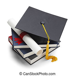 Graduation - Books with Graduation Cap and Degree Isolated...