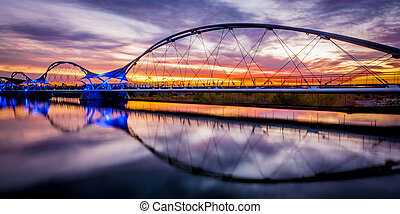 sunset walking bridge - Walking bridge over Tempe Town Lake...