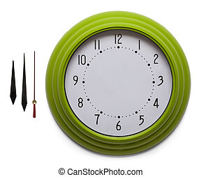 Green Clock - Adjustable Custom Clock Face Isolated on White...
