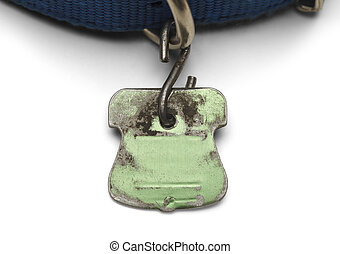 Green Dog Tag - Blank Pet Dog Tag Shield Worn out and...