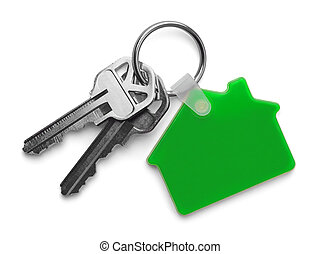 Green House and Keys - House keys with Green House Keychain...