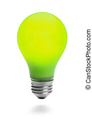 Green Lightbulb Lit and Isolated on White Background