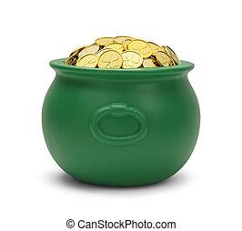 verde, pote, de, Ouro,