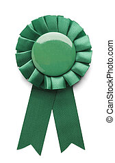 Green Ribbon - Green ribbon award badge isolated on white...