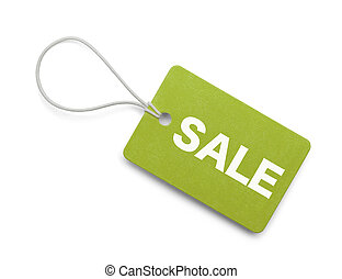 Green Sale Tag - Green Sale Hang Tag Isolated on White...